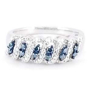 Jewelry - Sterling Silver Blue & White Diamond Braided Ring